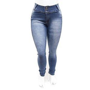 Calça Jeans Plus Size Azul Feminina Credencial Cintura Alta