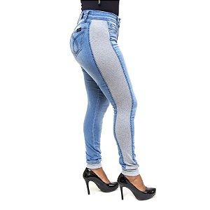 Calça Jeans com Moletom Seven 7 a Beach Hot Pants Azul Claro