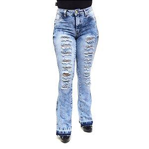 Calça Jeans Flare Rasgadinha Hot Pants Manchada HJ Jeans
