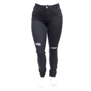 Calça Jeans Plus Size Feminina Rasgadinha Preta MC2