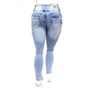 Calça Jeans Plus Size Feminina com Lycra Manchada Cheris