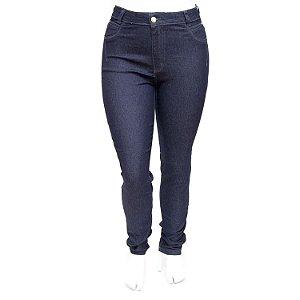 Calça Jeans Feminina Plus Size Hot Pants Escura Básica Cheris