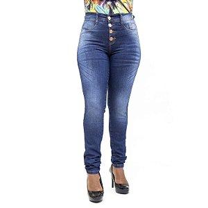 Calça Jeans Feminina Escura Hot Pants Cintura Alta Helix