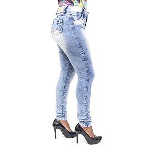 Calça Jeans Feminina Hot Pants Manchada Credencial