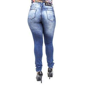 Calça Jeans Bunny Feminina Hot Pants Azul Manchada