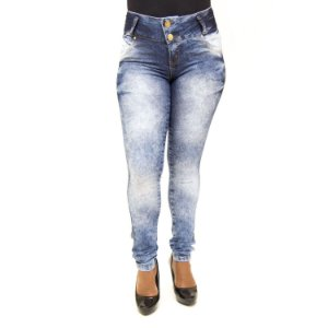 Calça Jeans Feminina Manchada Helix com Lycra
