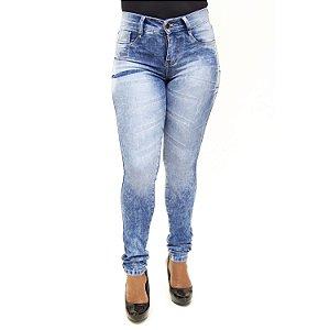 Calça Jeans Feminina Azul Manchada Helix com Lycra