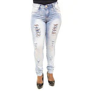 Calça Jeans Feminina Rasgadinha Manchada Helix com Lycra