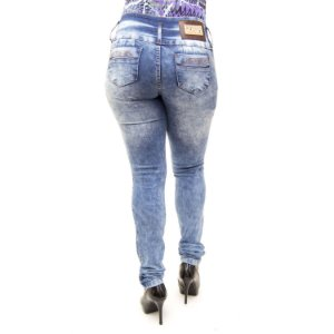 Calça Jeans Feminina Manchada Cós Largo Helix com Lycra