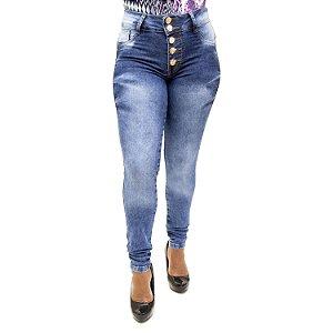 Calça Jeans Feminina Cintura Alta Hot Pants Manchada Cheris com Lycra