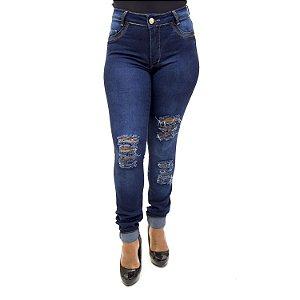 Calça Jeans Feminina Cintura Alta Rasgadinha Hot Pants Thomix