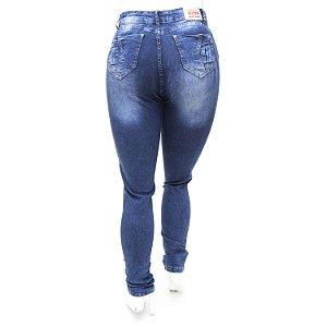 Calça Jeans Plus Size Cintura Alta Hot Pants Azul Manchada