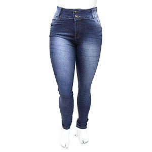 Calça Jeans Plus Size Cintura Alta Azul Escura Helix