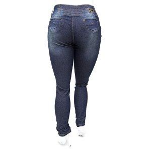 Calça Jeans Plus Size Cintura Alta com Elástico Escura Helix
