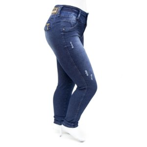 Calça Jeans Plus Size Rasgadinha Cintura Alta Hevox