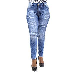 Calça Jeans Feminina Rasgadinha Cintura Alta Manchada Cheris
