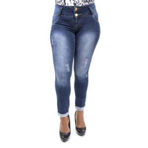 Calça Jeans Feminina Rasgadinha Cropped Helix