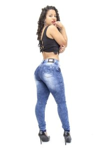 Calça Jeans Feminina Manchada Rasgadinha Thomix