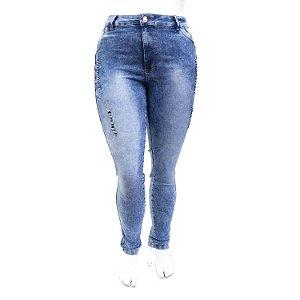 Calça Jeans Feminina Pluz Size Manchada Rasgadinha Thomix