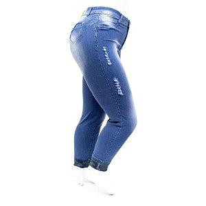 Calça Jeans Feminina Plus Size Rasgadinha Hot Pants Cheris