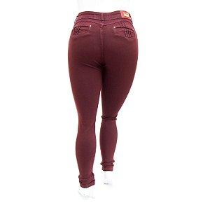 Calça Jeans Feminina Plus Size Hot Pants Vinho Cheris