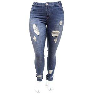 Calça Jeans Feminina Plus Size Rasgadinha Escura Darlook