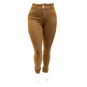 Calça Jeans Feminina Plus Size Marrom Cheris Cintura Alta
