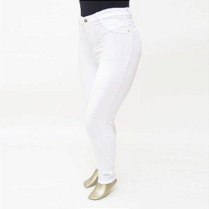 Calça Plus Size Jeans Feminina Branca Cintura Alta Cheris