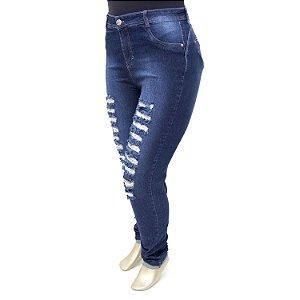 Calça Plus Size Jeans Feminina Rasgadinha Cintura Alta Cheris