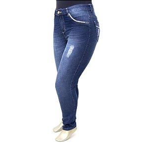 Calça Plus Size Jeans Feminina Azul Escura MC2