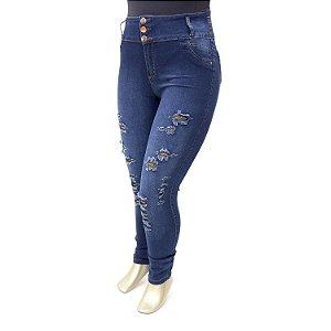 Calça Pluz Size Jeans Feminina Rasgadinha com Elástico Thomix