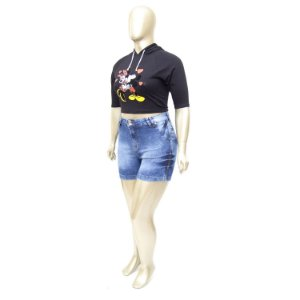 Shorts Jeans Plus Size Manchado Cheris