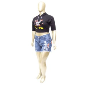 Shorts Boy Fit Plus Size com Bordado e Elástico no Cós Cambos