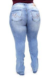 Calça Jeans Bokker Plus Size Flare Valdenise Azul