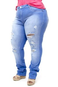 Calça Jeans Bokker Plus Size Reta Rasgada Jaquelin Azul