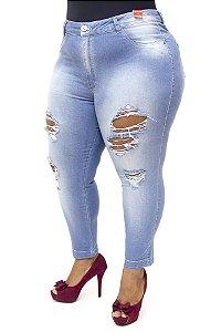 Calça Jeans Bokker Plus Size Skinny Rasgada Azul