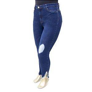 Calça Plus Size Jeans Super Skinny Rasgadinha Cambos