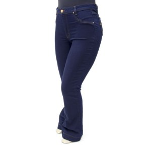 Calça Plus Size Jeans Flare Escura Básica Cambos
