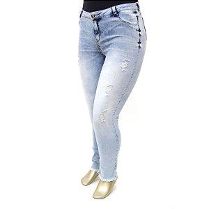Calça Plus Size Jeans Rasgadinha Clara Tenesse