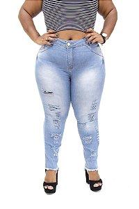 Calça Jeans Cheris Plus Size Skinny Rasgada Azul