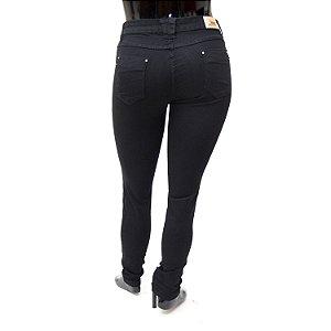 Calça Jeans Plus Size Feminina Preta Cheris Cintura Alta