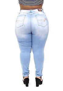 Calça Jeans Xtra Charmy Plus Size Skinny Edicleide Azul