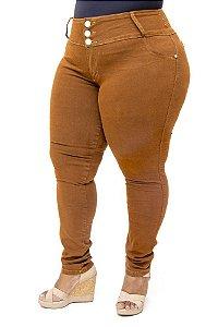 Calça Jeans Helix Plus Size Skinny Grasiele Marrom