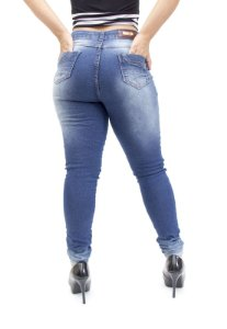 Calça Jeans Deerf Skinny Rasgada Silvana Azul