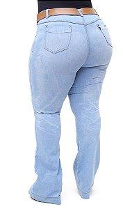 Calça Jeans Cambos Plus Size Flare Cibelly Azul