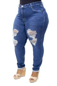 Calça Jeans Cambos Plus Size Skinny Rasgada Juliane Azul