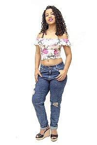Calça Jeans Feminina Boyfriend Rasgadinha Sawary Rozeli