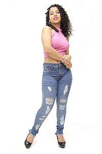 Calça Jeans Feminina Rasgadinha Sawary Tawane