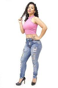 Calça Jeans Feminina Rasgadinha Biotipo Dayse