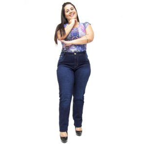 Calça Jeans Cheris Plus Size Reta Jamili Azul